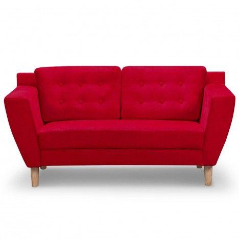 Canapé capitonné en tissu 2 places rouge Giby -