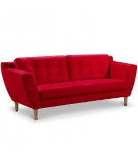 Canapé capitonné en tissu 3 places rouge Giby
