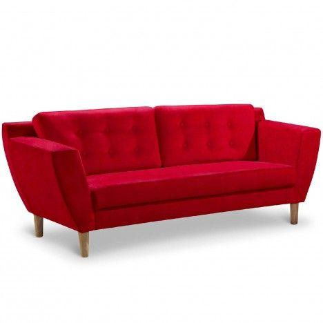 Canapé capitonné en tissu 3 places rouge Giby -