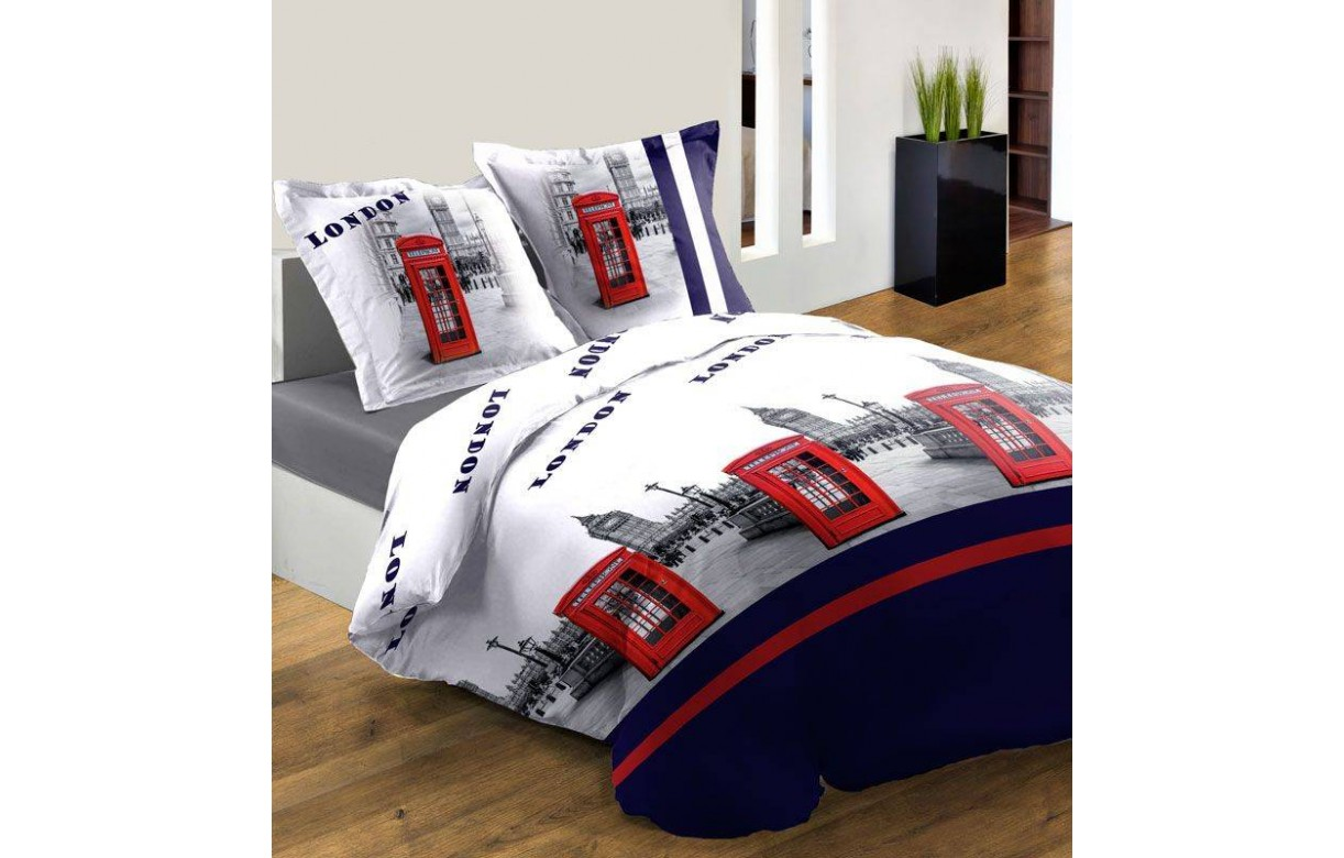 housse de couette 220 x 240 cm 2 taies london cabine bleu decome store. Black Bedroom Furniture Sets. Home Design Ideas