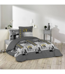 Housse de couette 220 x 240 cm + 2 taies New-York Yellow Anthracite -