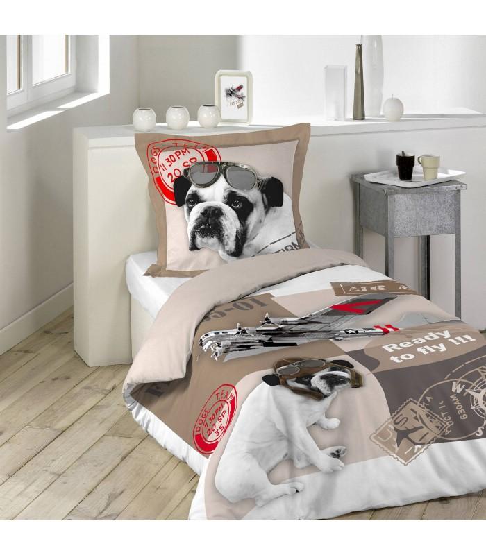 housse de couette 140 x 200 cm 1 taie chien aviateur decome store. Black Bedroom Furniture Sets. Home Design Ideas
