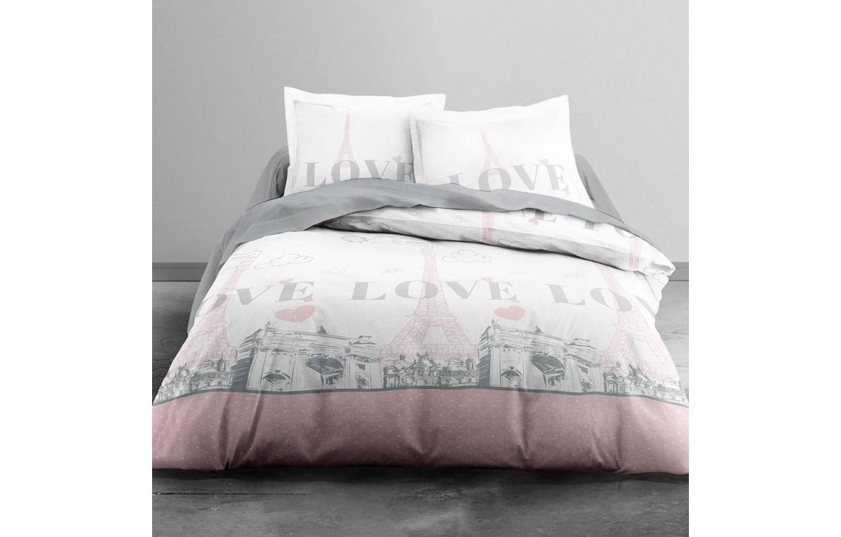 housse de couette 220 x 240 cm 2 taies paris my love decome store. Black Bedroom Furniture Sets. Home Design Ideas