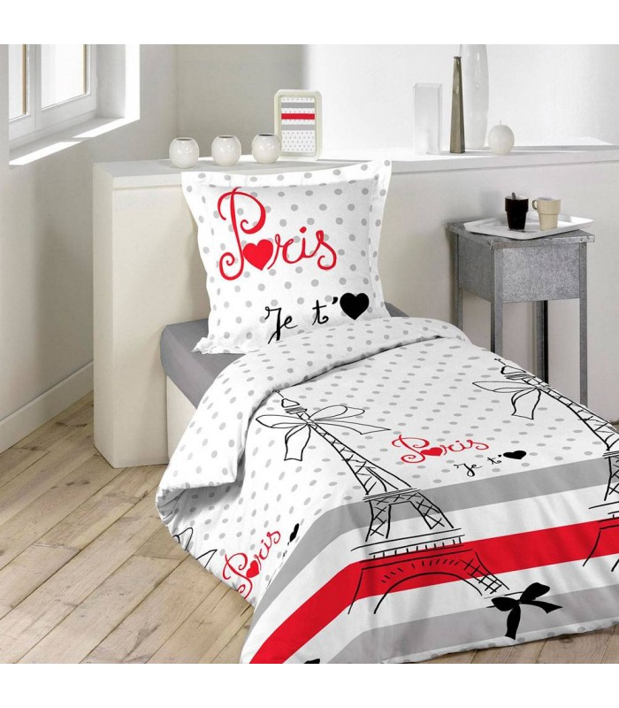 housse de couette 140 x 200 cm 1 taie paris chic decome store. Black Bedroom Furniture Sets. Home Design Ideas