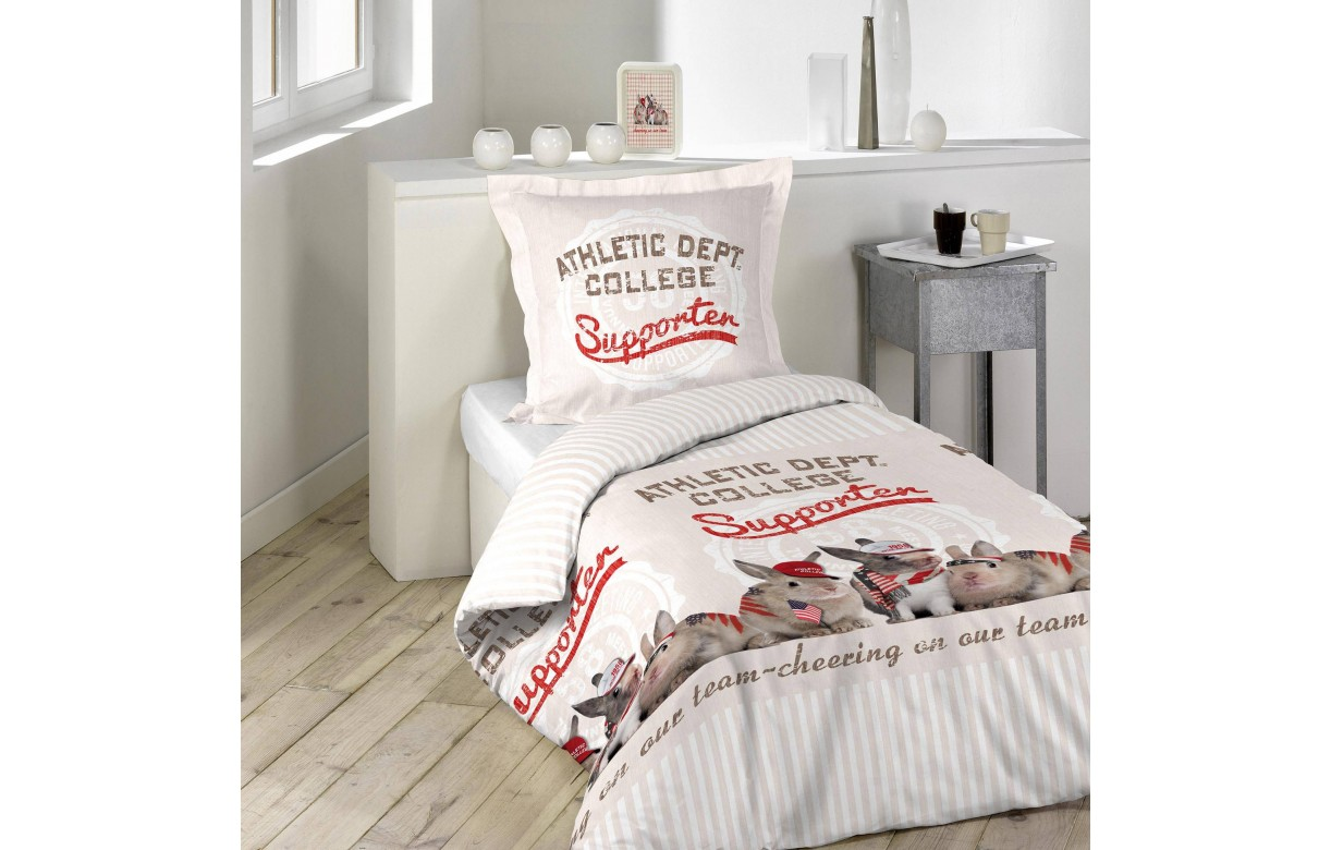 Housse de couette 140 x 200 cm 1 taie chester decome store for Housse couette foot