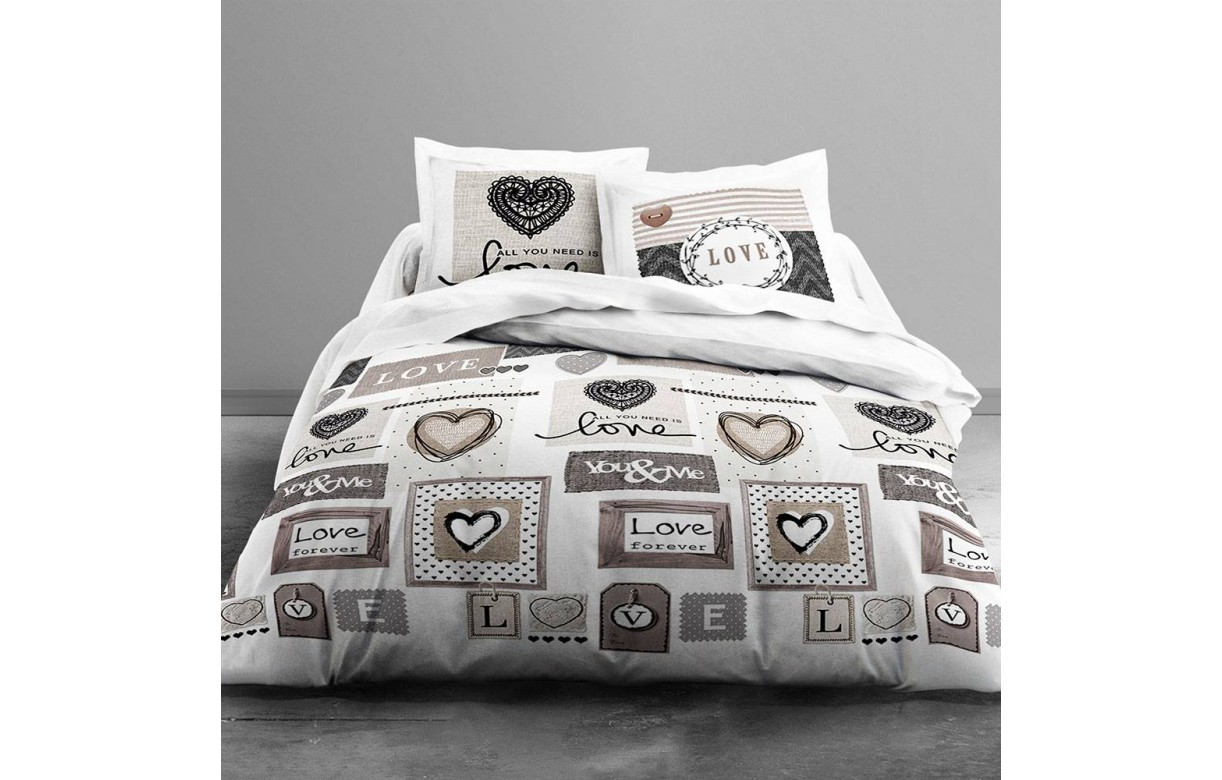housse de couette 240 x 260 cm 2 taies love forever decome store. Black Bedroom Furniture Sets. Home Design Ideas