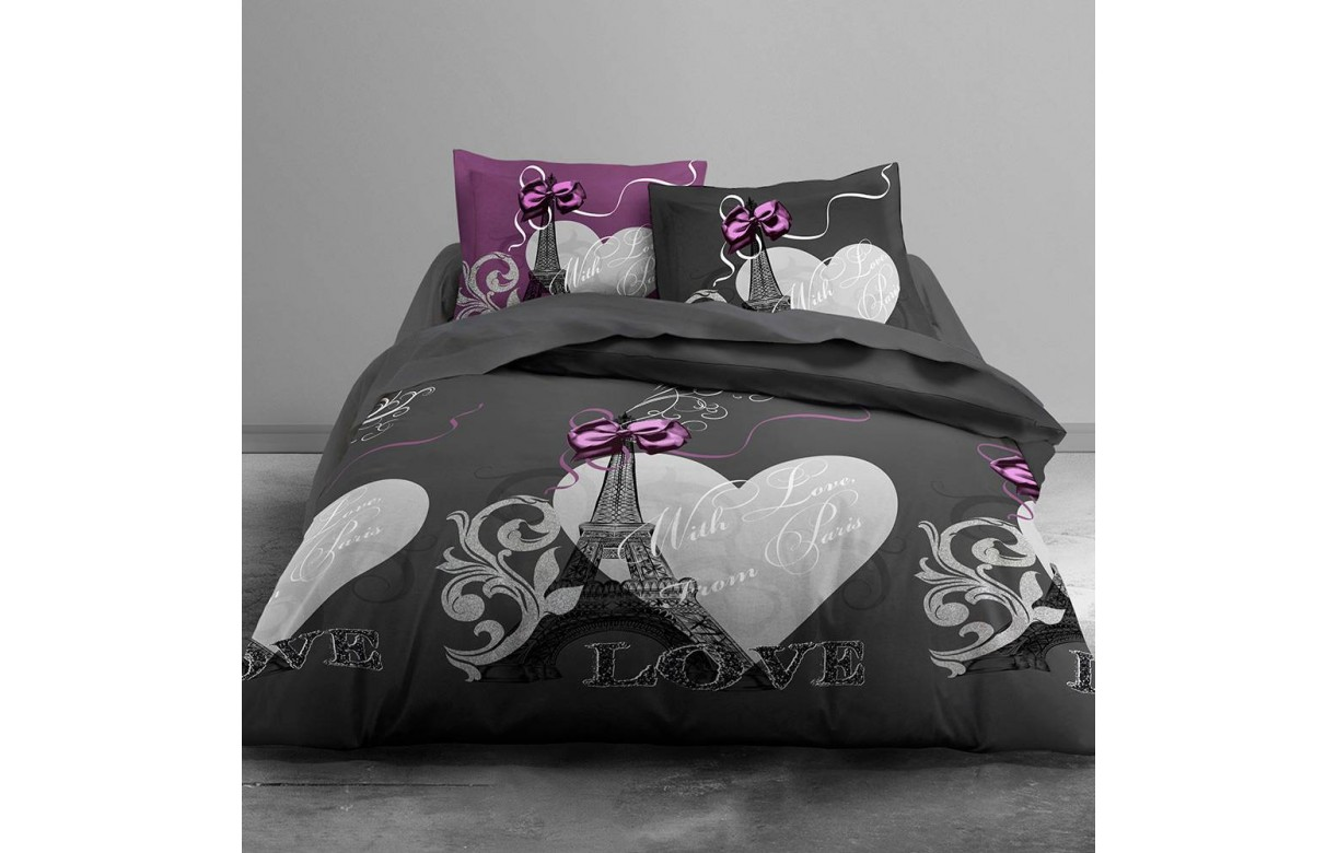 housse de couette 260 x 240 cm 2 taies from paris. Black Bedroom Furniture Sets. Home Design Ideas