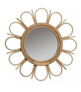 Miroir en rotin naturel vintage en forme de fleur Margy -