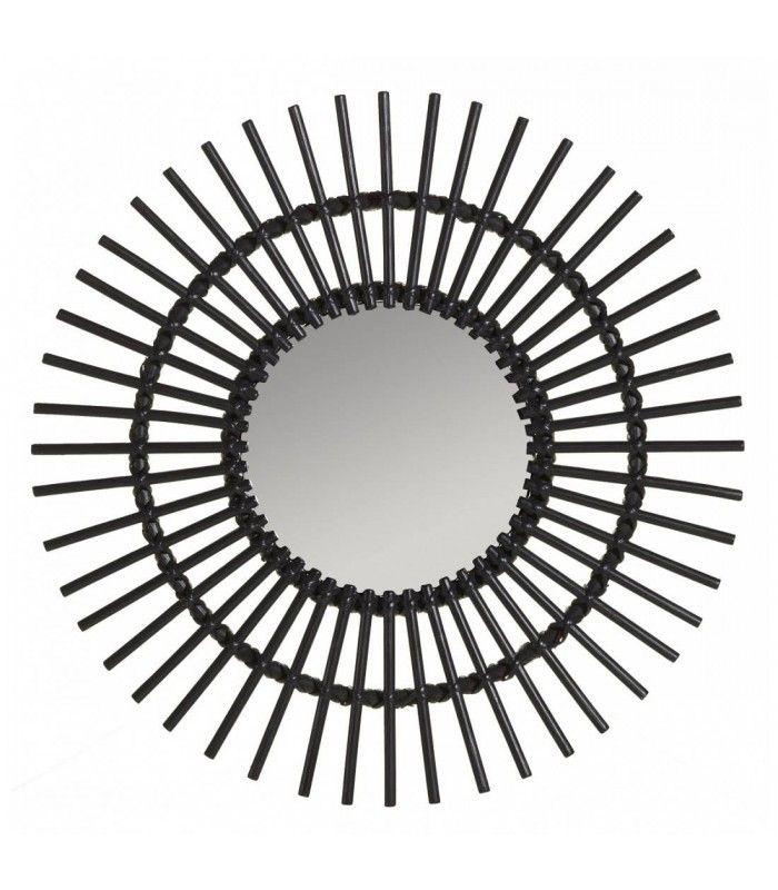 Miroir en rotin laqu noir plan te diam tre 70cm decome for Miroir rotin noir