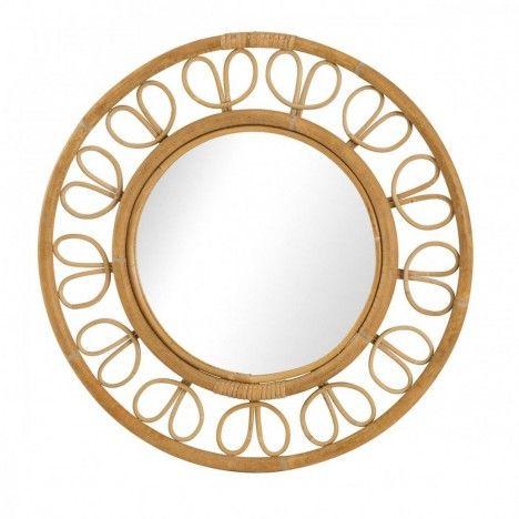 Miroir en rotin naturel avec boucles coeurs Ruban -