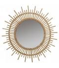 Grand miroir rond en rotin Soleil 80cm -