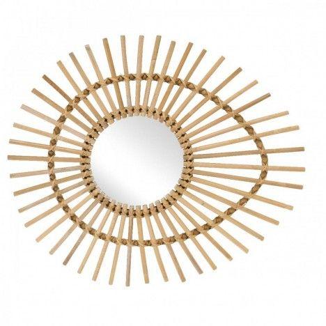 Miroir ovale en rotin naturel oeil Ellipse L.74cm -