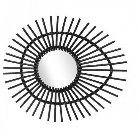 Miroir ovale en rotin noir laqué oeil Ellipse L.74cm -