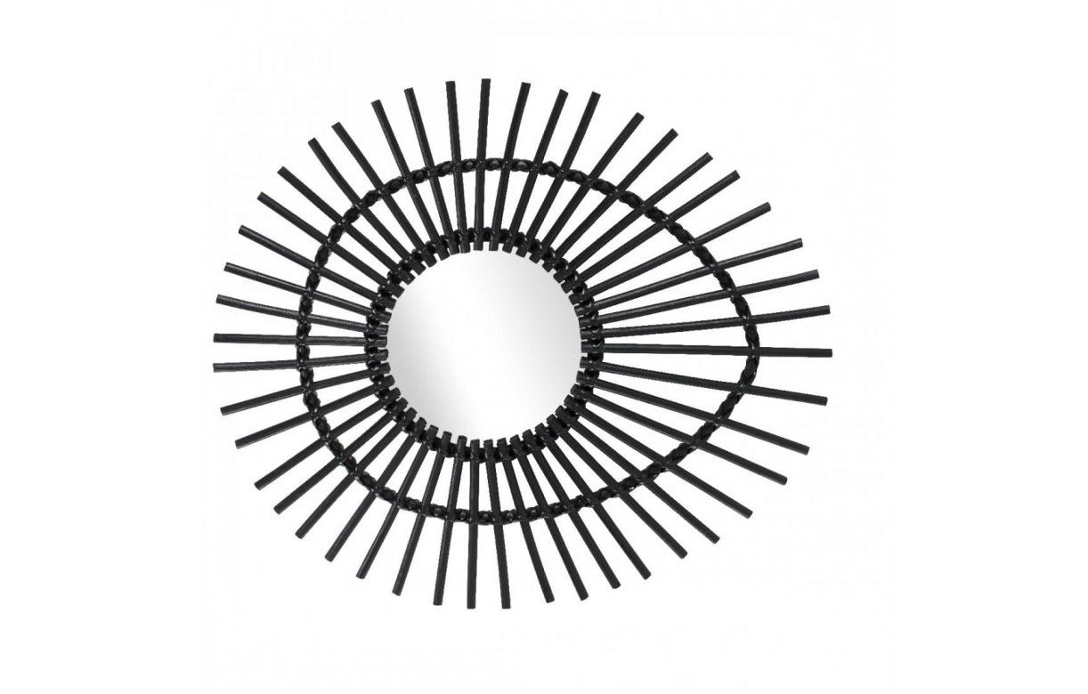 5378ba6ca0a1db Miroir ovale en rotin noir laqué oeil Ellipse L.74cm -