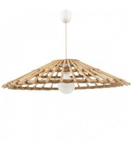Suspension luminaire vintage en rotin naturel -
