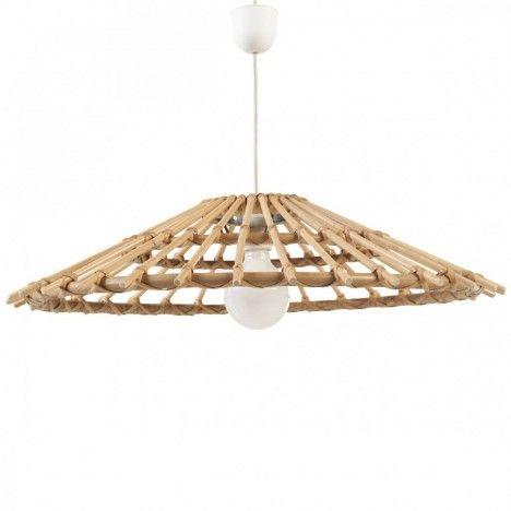 Suspension luminaire vintage en rotin naturel - Suspension en rotin design ...