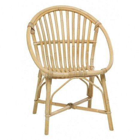 Fauteuil chaise empilable en rotin naturel Bruno -