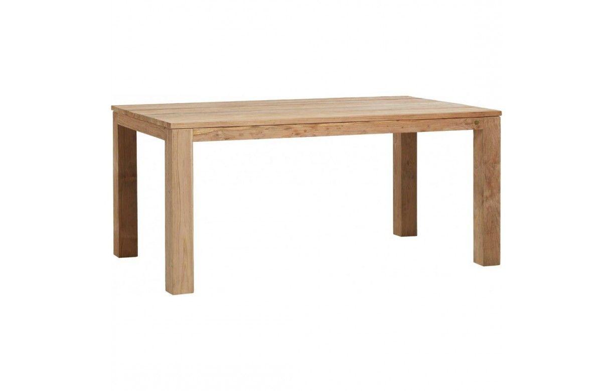 Table en bois massif de teck bross 170cm for Table en bois massif