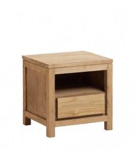 Chevet avec tiroir en bois massif de teck brossé