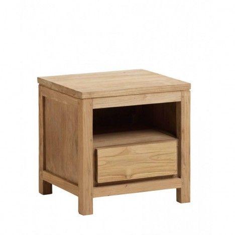 Chevet avec tiroir en bois massif de teck brossé -