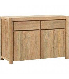 Buffet en bois massif de teck 2 portes 2 tiroirs -