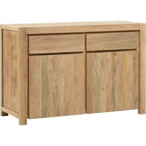 buffet en bois massif de teck 2 portes 2 tiroirs. Black Bedroom Furniture Sets. Home Design Ideas
