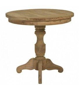 Petite table guéridon en bois massif de teck brossé D.80cm
