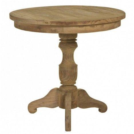 Petite table guéridon en bois massif de teck brossé D.80cm -