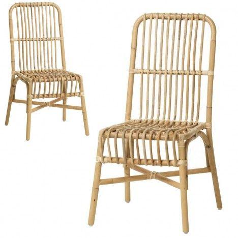 Chaise en rotin naturel empilable Valy - Lot de 2 -