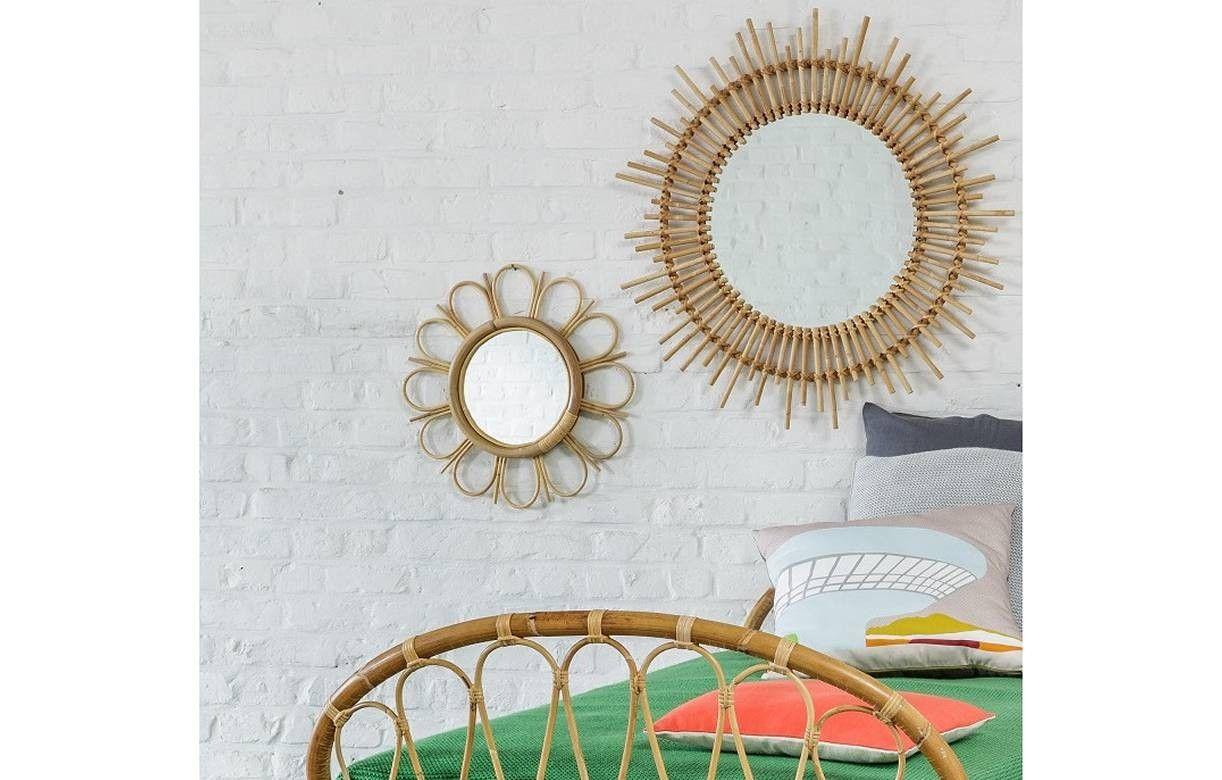 Miroir en rotin naturel vintage en forme de fleur for Forme miroir