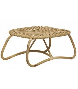 Pouf table basse basse en rotin naturel -