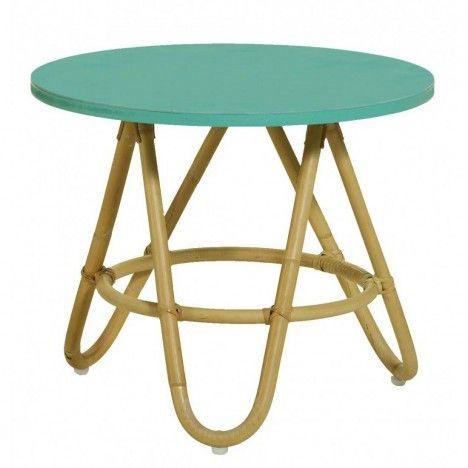 Table basse en rotin avec plateau vert aqua -