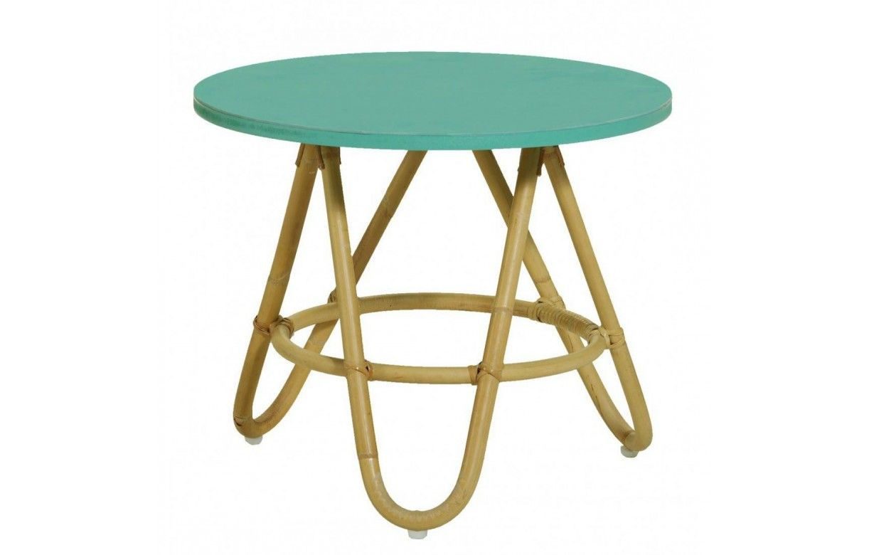 table basse en rotin avec plateau vert aqua. Black Bedroom Furniture Sets. Home Design Ideas