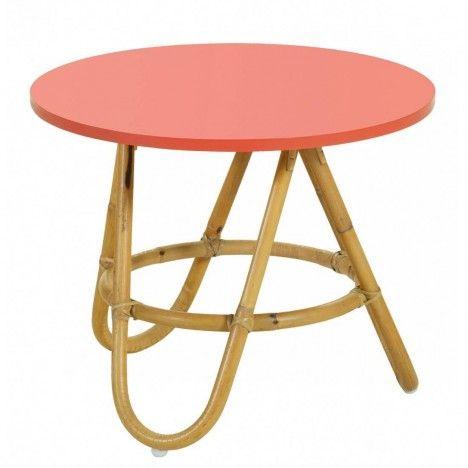 Table basse en rotin avec plateau corail -