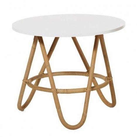 Table basse en rotin avec plateau blanc -