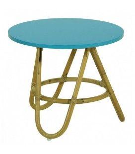 Table basse en rotin avec plateau bleu turquoise