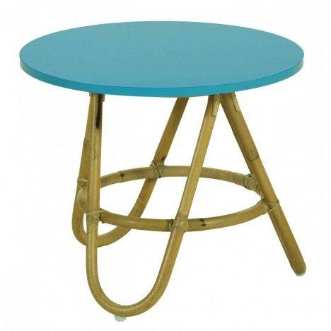 Table basse en rotin avec plateau bleu turquoise -