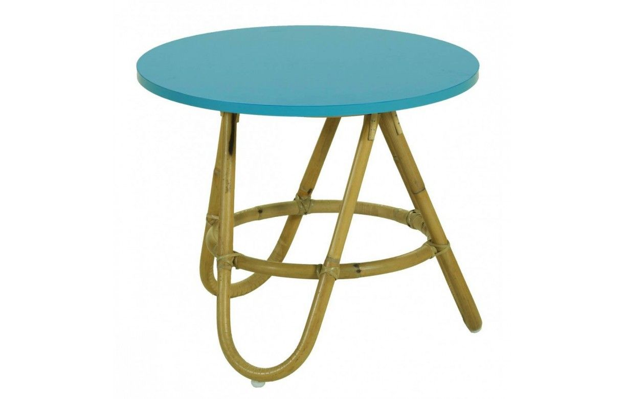 table basse en rotin avec plateau bleu turquoise. Black Bedroom Furniture Sets. Home Design Ideas