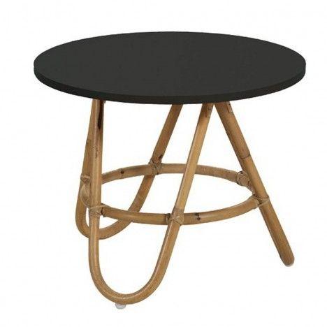 Table basse en rotin avec plateau noir -