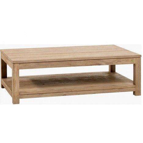 Table basse en bois massif de teck brossé -