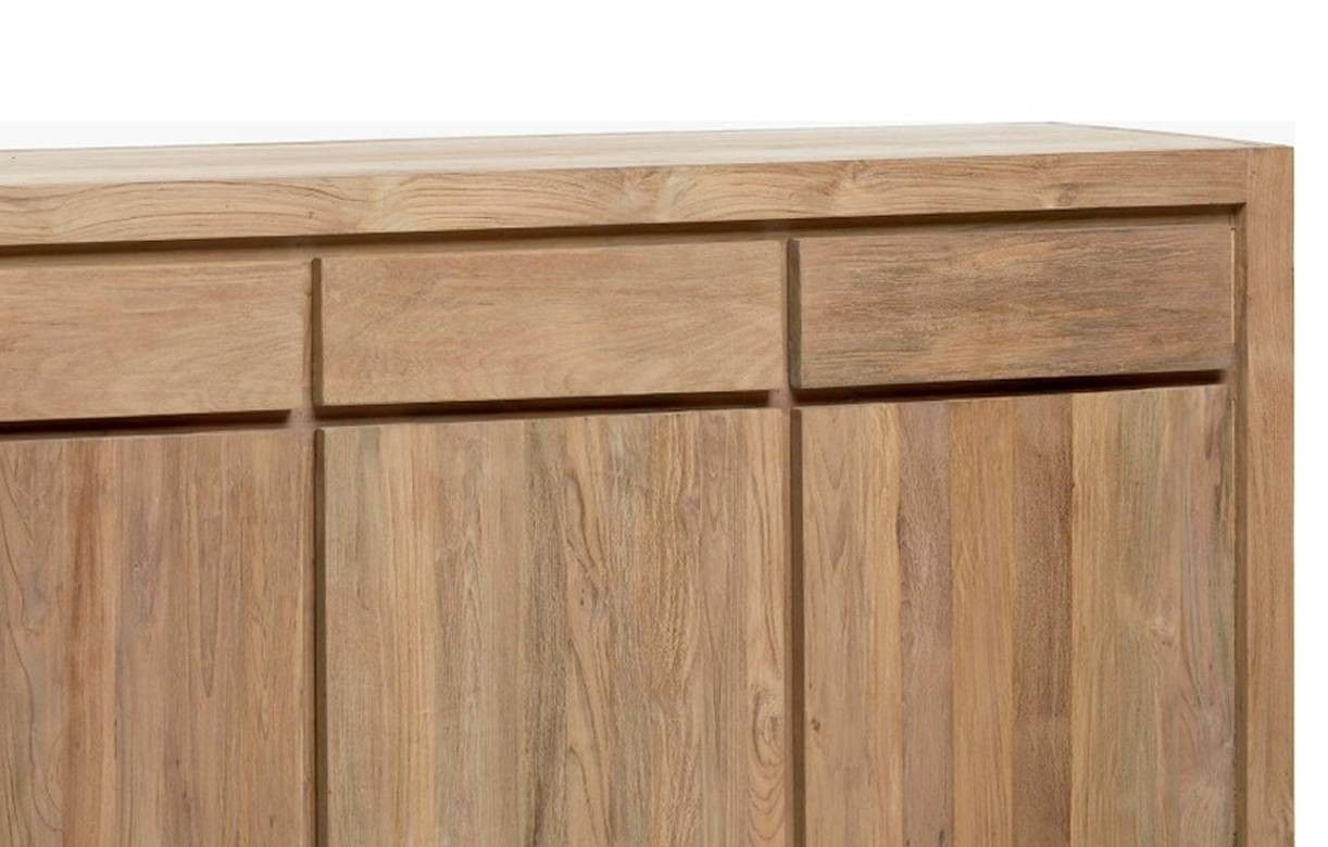 grand buffet en bois massif de teck 3 portes 3 tiroirs. Black Bedroom Furniture Sets. Home Design Ideas