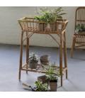 Jardinière déco vintage en rotin naturel H.90cm -