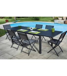Table d'extérieur extensible gris foncé + 8 chaises pliantes Guethy