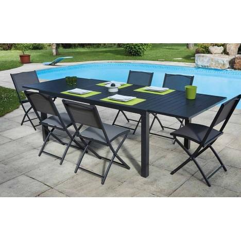 Table d'extérieur extensible gris foncé + 8 chaises pliantes Guethy -