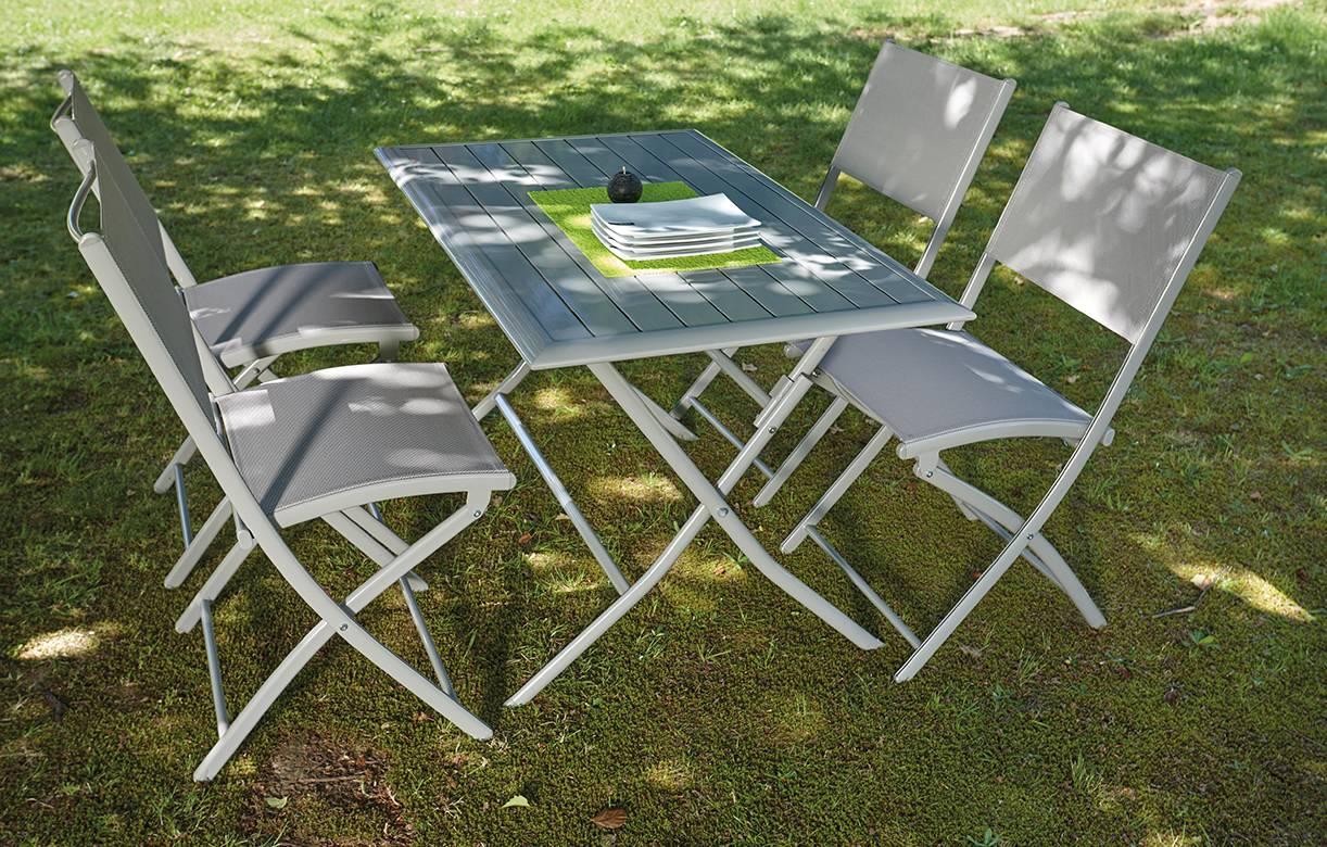 Table et 4 chaises de jardin pliantes taupe Hossy