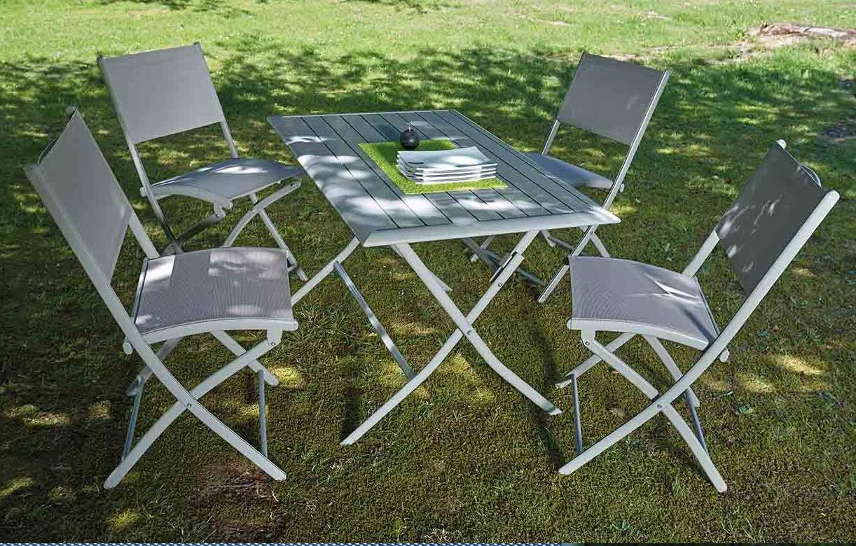 Table et 4 chaises de jardin pliantes taupe hossy for Table jardin et chaise