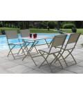 Table et 4 chaises de jardin pliantes taupe Hossy -