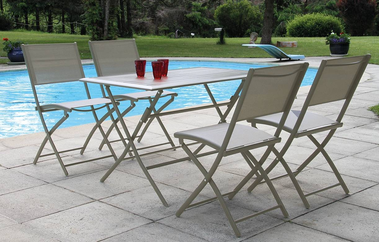 Table et 4 chaises de jardin pliantes taupe hossy - Ensemble table de jardin et chaises ...