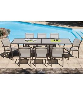 Table extensible de jardin + 6 fauteuils empilables noisette Honfy
