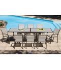 Table extensible de jardin + 6 ou 8 fauteuils empilables noisette Honfy -